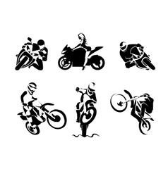 Extreme Motorbike Rider set vector