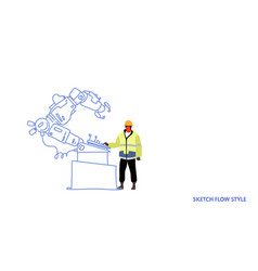 factory worker in uniform engineer of conveyor vector image