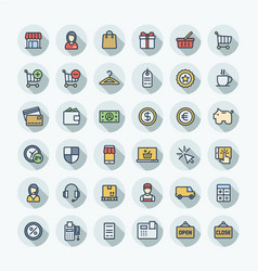 Flat color thin line icons set with vector
