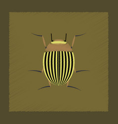 Flat shading style colorado beetle vector