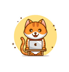 Funny and cute cartoon cat with laptop vector