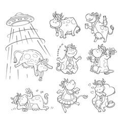 Funny cartoon cow doing activities in black vector