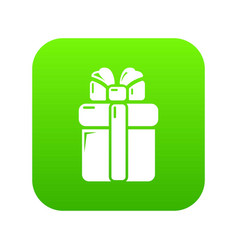gift box icon green vector image