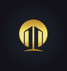 Gold building architecture construction logo vector