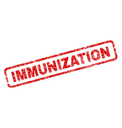 Grunge immunization rounded rectangle stamp vector