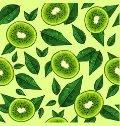 Half cut kiwies and green plant vector