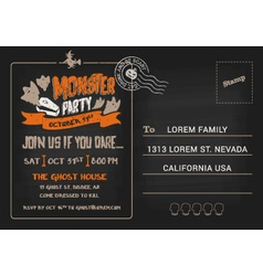 Halloween Monster Party postcard invitation vector image
