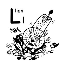 Hand drawnalphabet letter l-lion vector