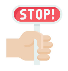 hand holding stop sign icon protest related vector image