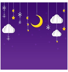 Hanging star moon cloud snow on night sky vector