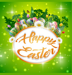 happy easter eggs with frame round vector image