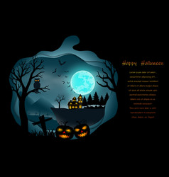 happy halloween with full moon vector image