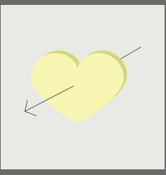 Heart arrow yellow love vector