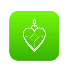 heart shaped pendant icon digital green vector image