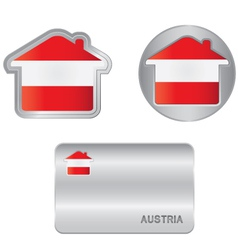 Home icon on the Austrian flag vector image vector image