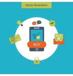 Icons for mobile marketing and security online vector