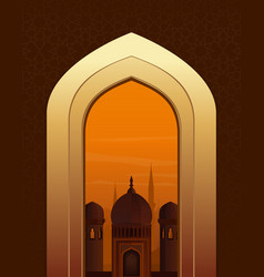 Islamic doorway view arabian night vector
