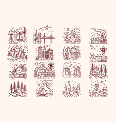 Isolated icons landscape lineart vector