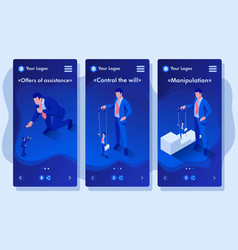 Isometric businessman is under control like puppet vector