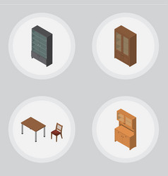 Isometric furniture set of cabinet cupboard vector