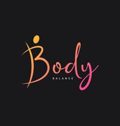 Letter b logo body logo on black background vector
