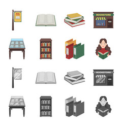 Library and bookstore cartoonmonochrome icons in vector