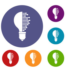 Lightbulb with microcircuit icons set vector