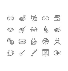 line optometry icons vector image