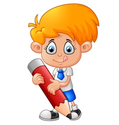 Little boy with pencil vector