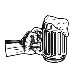 Male hand holding beer mug concept vector