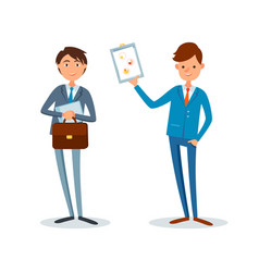 man showing clipboard page with pie diagram charts vector image
