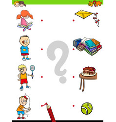 Match children characters and activities game vector