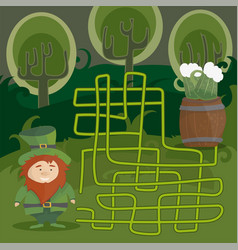 Maze game for kids help red leprechaun to find vector