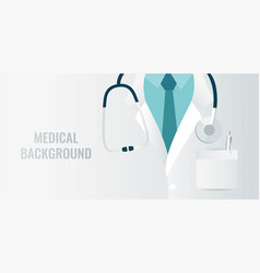 medical background with close up of doctor with vector image
