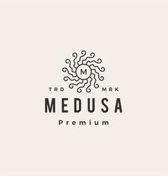 medusa mandala hipster vintage logo icon vector image