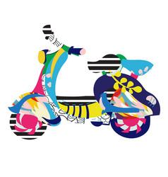 Motor scooter doodle vector