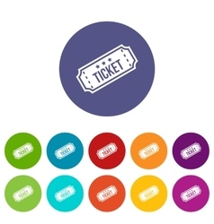 Movie ticket set icons vector image