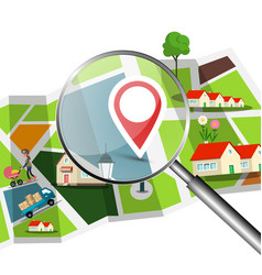navigation setup with magnifing glass over the vector image