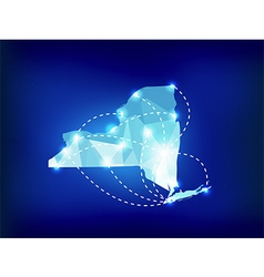 New York state map polygonal with spot lights vector