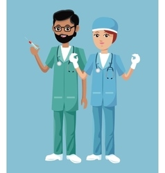 nurse man and woman work clinic heatlh vector image