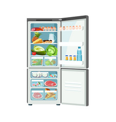 open fridge with products isolated on white color vector image