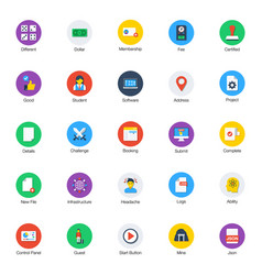 Pack flat random icons vector