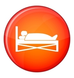 Patient in bed in hospital icon flat style vector