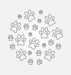 Paw prints round minimal line vector