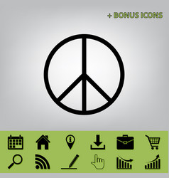 peace sign black icon at vector image