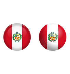 peru flag under 3d dome button and on glossy vector image