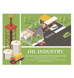 petrol industry colorful composition vector image