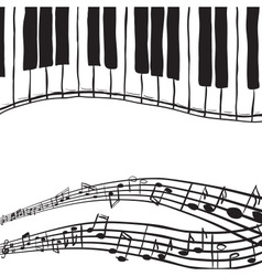 Piano keys and music notes vector
