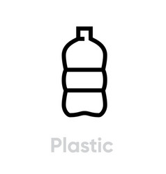 Plastic recycling icon editable line vector