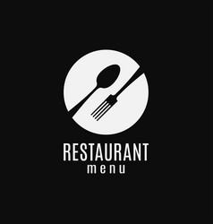 Plate with fork and spoon logo restaurant menu vector